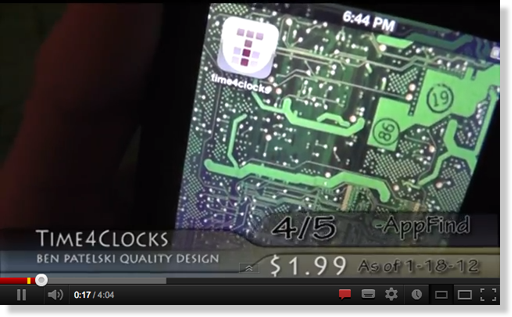 iPhone video review of time4clocks by Appfind